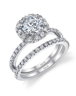 This stunning bridal set is shown with a 1ct center diamond. Available in 18K white or yellow gold and platinum. Prong set for durability with diamonds calibrated to 1/100th of a millimeter. Settings can be custom made to fit any size or shape center stone. Total weight of semi-mount 0.39 Ct., total weight of matching band 0.20 Ct. Each piece sold separately.