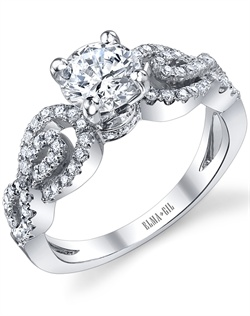 This stunning semi-mount is shown with a 1ct center diamond. Available in 18K white or yellow gold and platinum. Prong set for durability with diamonds calibrated to 1/100th of a millimeter. Settings can be custom made to fit any size or shape center stone. Total weight of semi-mount 0.46 Ct. Matching band available - Style number DR-348A
