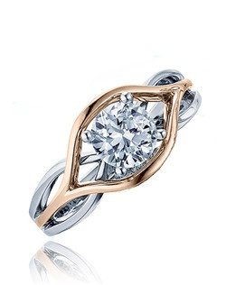 "The ""Polish flow"" is for that subtle woman, that wants that modern twist. This Sage ring is shown with a combination of high polish pink gold top and white gold polish shank. Available in any size center. (Center not included)."