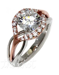 "The ""Flow"" ring can be defined in two words: beautiful and fun. This Sage ring is shown in pink gold diamond top and white gold polish shank. Available in any size center and metal. (Center not included). 18 DIA 0.30 CT"