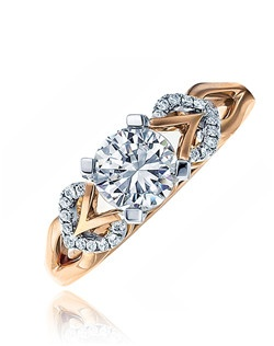 A cross between vintage and modern, this will stand the test the time for every woman. This Sage ring is shown with diamonds set in rose gold. Available in any size center and metal. (Center not included). 38 DIA 0.19 CT