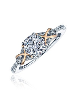 Sage modern solitaire . This Sage ring is shown with white gold and diamonds and pink polish gold. Available in any size center and metal (Center not included). 36 DIA 0.27 CT