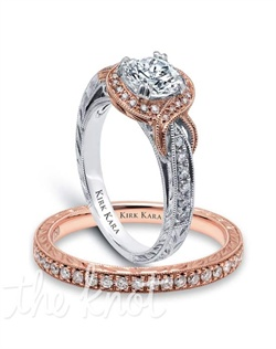 Hand-engraved rose gold and white gold engagement set from the Kirk Kara Pirouette collection.  Engagement ring is crafted with 0.25 carats of diamonds (center stone not included). Shown with matching wedding band crafted with 0.17 carats of diamonds.  Available in platinum or 18K white, 18K yellow or 18K rose gold. All Kirk Kara designs are handcrafted and tailored to accommodate your customization requests.