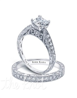 Hand-engraved engagement set from the Kirk Kara Stella collection.  Engagement ring is crafted with 0.21 carats of diamonds (center stone not included). Shown with matching wedding band crafted with 0.23 carats of diamonds. Available in platinum or 18K white, 18K yellow or 18K rose gold. All Kirk Kara designs are handcrafted and tailored to accommodate your customization requests.
