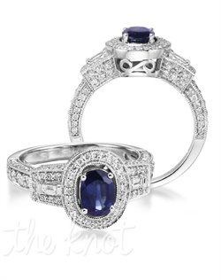 Resplendence unparalleled! The Regal spotlights a 1.07 carat oval with 106 diamond inlays on a 14K white gold band. The Regal will make your significant other feel like royalty! Don't be afraid to customize! Add a little tint to your style with Parlé Color Bridal!