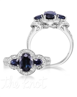 Astonish them! The Legend lives up expectations by showcasing a 14K white gold band with a 1.55 carat oval blue sapphire center stone. The Legend is flanked by two additional 0.20 carat pear blue sapphires and 56 diamonds in a setting that's only fitting for that unforgettable someone. Don't be afraid to customize - this ring is also available in pink sapphire, ruby, and emerald as well as in 14K yellow gold. Add a little tint to your style with Parlé Color Bridal!