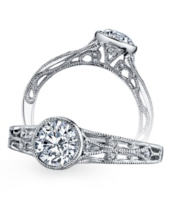 A vintage-inspired style from The Hera Collection recalls romance of eras past. Milgrain detail weaves through open space and is topped with  a brilliant bezel-set diamond. (0.10 ct tw) Available in platinum, 18K white, 18K yellow, 18K rose gold or palladium. All Parade Design styles can be customized upon request.