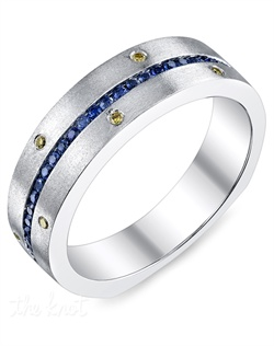 Sixty blue sapphires totaling 0.60ct and ten yellow diamonds totaling 0.04ct. Satin finish. Available in yellow, white, or rose gold, and platinum.
