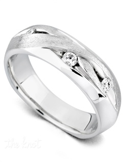 Three diamonds totaling 0.17ct. Satin and high polish finish. Available in yellow, white, or rose gold, and platinum.