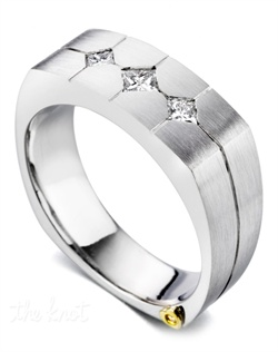 Three diamonds totaling 0.33ct. Satin finish. Available in yellow, white, or rose gold, and platinum.