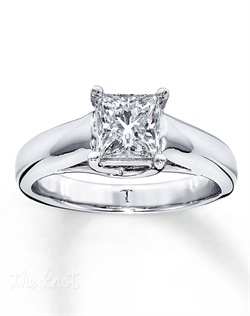 It has been nearly a century since Marcel Tolkowsky revolutionized diamond cutting with the original Ideal Cut Diamond. The brilliance of an independently certified, 1 carat Tolkowsky® princess-cut diamond delivers awe-inspiring style in this solitaire ring for her. This fine jewelry ring is secured by platinum prongs on a 14K white gold band. All Tolkowsky® princess-cut diamonds are certified Ideal Cut and each ring comes with a certificate of authenticity. The ring comes with a unique presentation box.