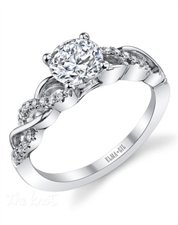 This stunning semi-mount is shown with a 1ct center diamond. Available in 18K white or yellow gold and platinum. Prong set for durability with diamonds calibrated to 1/100th of a millimeter. Settings can be custom made to fit any size or shape center stone. Total weight of semi-mount 0.16 Ct. Matching band available - Style number DR-600A