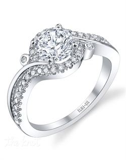 This stunning semi-mount is shown with a 1ct center diamond. Available in 18K white or yellow gold and platinum. Prong set for durability with diamonds calibrated to 1/100th of a millimeter. Settings can be custom made to fit any size or shape center stone. Total weight of semi-mount 0.31 Ct. Matching band available - Style number DR-296A