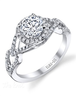 This stunning semi-mount is shown with a 1ct center diamond. Available in 18K white or yellow gold and platinum. Prong set for durability with diamonds calibrated to 1/100th of a millimeter. Settings can be custom made to fit any size or shape center stone. Total weight of semi-mount 0.40 Ct. Matching band available - Style number DR-382A