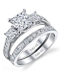 This stunning bridal set is shown with a 1ct center diamond. Available in 18K white or yellow gold and platinum. Prong set for durability with diamonds calibrated to 1/100th of a millimeter. Settings can be custom made to fit any size or shape center stone. Total weight of semi-mount 0.88 Ct., total weight of matching band 0.57 Ct. Each piece sold separately.