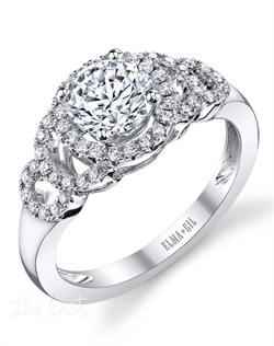 This stunning semi-mount is shown with a 1ct center diamond. Available in 18K white or yellow gold and platinum. Prong set for durability with diamonds calibrated to 1/100th of a millimeter. Settings can be custom made to fit any size or shape center stone. Total weight of semi-mount 0.29 Ct. Matching band available - Style number DR-370A