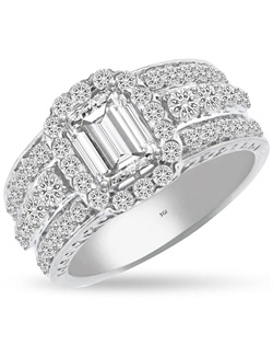 Engraving on the sides of this wide, triple row band give this ring a timeless quality.  The center row is slightly raised accentuating the 1ct center stone and halo.  The ring has 1.0 ct of Ideal Cut diamonds, F-G Color, SI1 Clarity set in 14Kt White Gold.  The center stone and matching wedding band are sold separately.