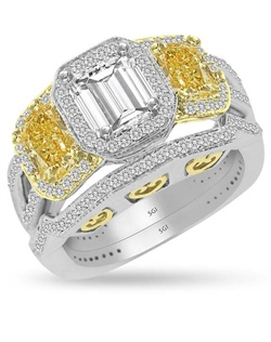 This three stone two tone White and Yellow Gold wedding set shows off it&#39;s love with 3 hearts in the under gallery.  The 1/2ct center stone is surrounded by a halo of bead set diamonds.  It is accented by two 1/4ct side stones that are surrounded by Yellow Gold halos .   The wedding ring and matching band have 0.75cts of Ideal Cut diamonds, F-G Color, SI1 Clarity set in 14Kt White and Yellow Gold.  The center stone and two side stones are sold separately.