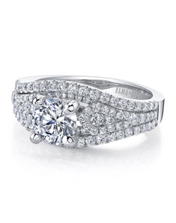 This stunning semi-mount is shown with a 1ct center diamond. Available in 18K white or yellow gold and platinum. Prong set for durability with diamonds calibrated to 1/100th of a millimeter. Settings can be custom made to fit any size or shape center stone. Total weight of semi-mount 0.85 Ct. Matching band available - Style number DR-350A