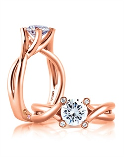 Rose Gold Bubble Solitaire Engagement Ring with Natural Pink Diamonds Embeded in Signature &quot;A&quot;.&lt;div&gt;&lt;div&gt;Style No # : MES592&lt;/div&gt;&lt;div&gt;Collection : Seasons of Love&#174;&amp;nbsp;&lt;/div&gt;&lt;div&gt;Center Stone : Round&lt;/div&gt;&lt;div&gt;Setting : Bezel&lt;/div&gt;&lt;div&gt;Style : Designer&lt;/div&gt;&lt;div&gt;Price starting from : $2,270 (excluding center diamond)&lt;/div&gt;&lt;div&gt;Diamond Carat Weight (without center) : 0.03 CT&lt;/div&gt;&lt;/div&gt;