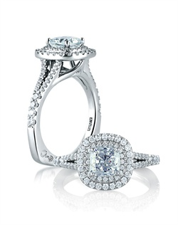 Classic Double Halo Cushion Engagement ring.<div><div>Style No # : MES574</div><div>Collection : Metropolitan® </div><div>Center Stone : CUSHION</div><div>Setting : Prong</div><div>Style : Designer</div></div>