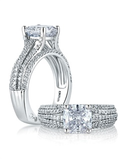 Five Row Diamond Dazzling Cushion Engagement Ring.<div><div>Style No # : MES571</div><div>Collection : Metropolitan® </div><div>Center Stone : CUSHION</div><div>Setting : Prong</div><div>Style : Signature</div><div>Price starting from : $4,850 (excluding center diamond)</div><div>Diamond Carat Weight (without center) : 0.64 CT</div></div>