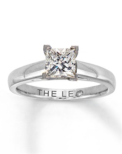 A brilliant one carat princess-cut Leo Diamond solitaire steals the show in this stunning fine jewelry ring for her. Secured by platinum prongs, this lovely ring is set in lustrous 14K white gold. The diamond is laser-inscribed with a unique Gemscribe&#174; serial number, ensuring that your diamond will never be mistaken for any other.