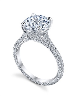 "Platinum MICHAEL B. Engagement Ring from the PARIS Collection features our signature ""Michael Pave"" Micro pave setting style on the shank and in the underbasket. All MICHAEL B. engagement rings are hand-crafted in Studio City, CA, using the finest of materials and for the exact dimensions of your center stone."