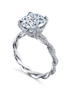 Platinum MICHAEL B. Engagement Ring from the INFINITY Collection features two hand-braided wires and our signature &quot;Michael Pave&quot; micro pave setting style. Set with Diamond Tips and Prongs for a truly over-the-top look, the ring can also be set with our copyrighted Fleur de Lys high polish basket. All MICHAEL B. engagement rings are hand-crafted in Studio City, CA, using the finest of materials and for the exact dimensions of your center stone.