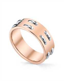"18K Rose Gold MICHAEL B. men's band from the contemporary STITCH Collection featuring two rows of PLATINUM ""stitches."" Ring can be made in 18K Rose, Yellow, Platinum, or any combination of two colors. All MICHAEL B. jewelry is hand-made in Studio City, CA."