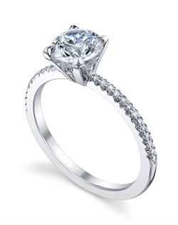 "Platinum MICHAEL B. Engagement Ring from the ROYAL Collection features our signature ""Michael Pave"" micro pave setting style. All MICHAEL B. engagement rings are hand-crafted in Studio City, CA, using the finest of materials and for the exact dimensions of your center stone."