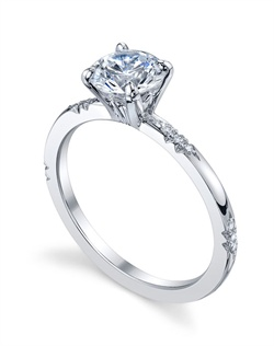 Platinum MICHAEL B. Engagement Ring from the ROYAL Collection features signature clusters of diamond &quot;bouquets&quot; set in our unique &quot;Michael Pave&quot; micro pave setting style. All MICHAEL B. engagement rings are hand-crafted in Studio City, CA, using the finest of materials and for the exact dimensions of your center stone.