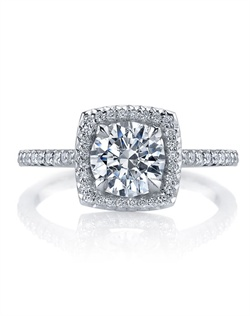 "Platinum MICHAEL B. Engagement Ring from the ROYAL Collection features a delicate halo around the center stone shape of your choice and our signature ""Michael Pave"" micro pave setting style. All MICHAEL B. engagement rings are hand-crafted in Studio City, CA, using the finest of materials and for the exact dimensions of your center stone."