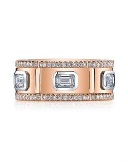 "18K Rose Gold MICHAEL B. BOLT band features Emerald cut diamonds set in Platinum and sidebands set in our signature ""Michael Pave"" micro pave setting style. All MICHAEL B. jewelry is hand-crafted in Studio City, CA, using the finest of materials."