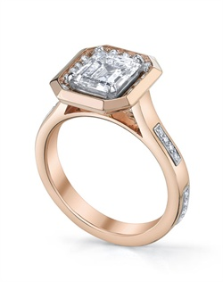 "18K Rose Gold MICHAEL B. Engagement Ring from the contemporary STITCH Collection. Ring features Platinum ""stitches"" set in our unique ""Michael Pave"" micro pave setting style and halo around the center stone. All MICHAEL B. engagement rings are hand-crafted in Studio City, CA, using the finest of materials and for the exact dimensions of your center stone."