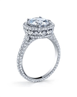 18K White Gold MICHAEL B. QUINTESSA Engagement Ring is a modern spin on a classic design and features our unique &quot;Michael Pave&quot; micro pave setting style. Ring can be made in 18K White, Yellow, or Rose Golds (or any combination of the two) for a truly unique look! All MICHAEL B. engagement rings are hand-crafted in Studio City, CA, using the finest of materials and for the exact dimensions of your center stone.