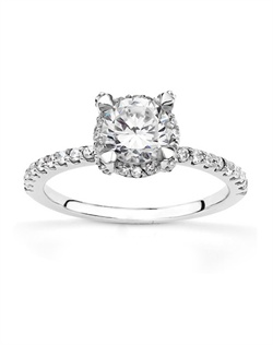 This elegant diamond engagement ring set in contemporary shared prong style. This engagement ring furnished with diamonds on its prong for enhancing look. This stunning engagement ring features 0.34ct. tw. GH SI1,2 diamonds and available in 14k, 18k, platinum and palladium