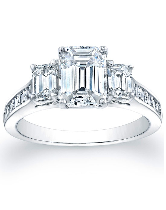 since1910 three emerald cut engagement ring with