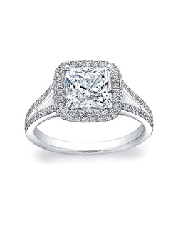 A cushion shaped halo surrounds your choice of a center diamond in this stunning split-shank pave diamond setting.