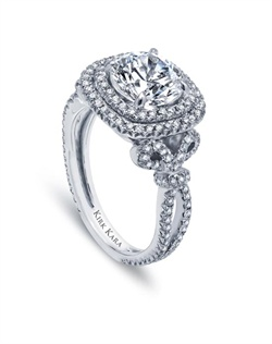 Handcrafted engagement ring from the Kirk Kara Pirouette collection crafted with 0.90 carats of diamonds (center stone not included). Available in platinum or 18K white, 18K yellow or 18K rose gold. All Kirk Kara designs are handcrafted and tailored to accommodate your customization requests.