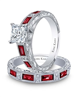 Hand-engraved engagement set from the Kirk Kara Charlotte collection. Engagement ring crafted with 0.09 carats of diamonds and 0.87 carats of baguette cut rubies (center stone not included). Shown with matching wedding band crafted with 0.06 carats of diamonds and 0.80 carats of baguette cut rubies. Available in platinum or 18K white, 18K yellow or 18K rose gold. All Kirk Kara designs are handcrafted and tailored to accommodate your customization requests.