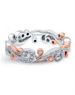 Handcrafted white gold and rose gold wedding band from the Kirk Kara Angelique collection crafted with 0.21 carats of diamonds. Available in platinum or 18K white, 18K yellow or 18K rose gold. All Kirk Kara designs are handcrafted and tailored to accommodate your customization requests.