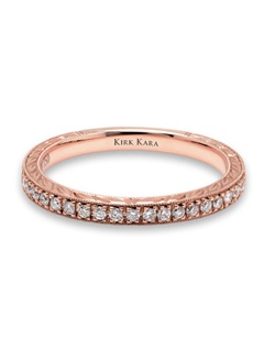 Hand-engraved rose gold wedding band from the Kirk Kara Pirouetta collection crafted with 0.17 carats of diamonds. Available in platinum or 18K white, 18K yellow or 18K rose gold. All Kirk Kara designs are handcrafted and tailored to accommodate your customization requests.