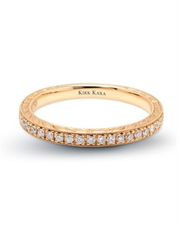 Hand-engraved yellow gold wedding band from the Kirk Kara Pirouetta collection crafted with 0.17 carats of diamonds. Available in platinum or 18K white, 18K yellow or 18K rose gold. All Kirk Kara designs are handcrafted and tailored to accommodate your customization requests.