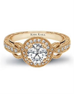 Hand-engraved engagement ring from the Kirk Kara Pirouette collection crafted with 0.25 carats of diamonds (center stone not included).  Available in platinum or 18K white, 18K yellow or 18K rose gold. All Kirk Kara designs are handcrafted and tailored to accommodate your customization requests.