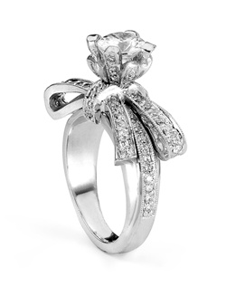 Reminiscent of sheer femininity, this Knot engagement ring designed by TRUE KNOTS® for The Knot Collection sparkles with 0.75tcw of diamonds. Sensual, timeless and true.Ring can accommodate any size round center (center not included). Available in platinum and gold.