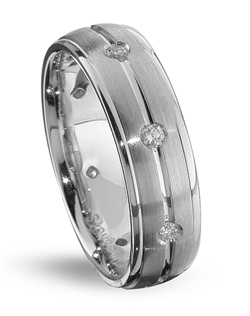 Traditional, with stylish edges, describes this diamond wedding band by TRUE KNOTS&#174; for the TRUE MAN&#174; collection. This wedding ring boasts 0.24tcw in round diamonds and may be customized to your desired width, metal type, and finish. Available in platinum, gold, and palladium.