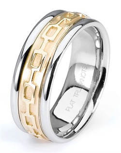 "Let ""Linked together Forever"" symbolize your love. Featured here is an 18K gold true two tone 8mm wedding band. Also available in platinum, white gold, yellow gold, rose gold, and palladium."