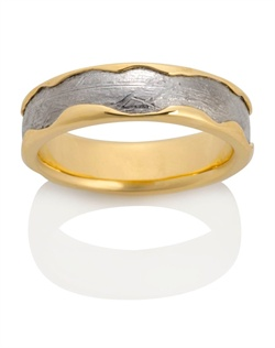 18k yellow gold, meteorite