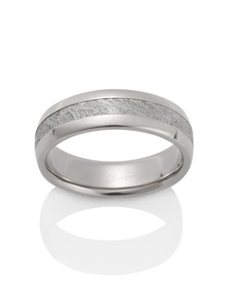 18k palladium white gold, meteorite